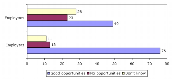 Opinions on career opportunities in the companies concerned (%)