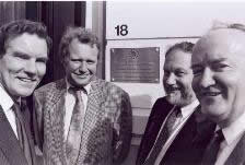 C. Purkiss, JC Vandermeeren, E. Verborgh and J. McColgan at the opening of the Foundation's Brussels Office in 1991