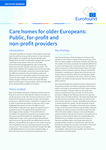 Care homes for older Europeans: Public, private and not-for-profit providers - Executive summary