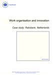 Work organisation and innovation: Case study: Rabobank, Netherlands