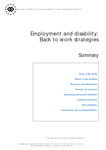 Employment and disability: Back to work strategies (summary)