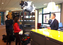 Fanny Gauret of Euronews' Real Economy programme, interviewing Massimiliano Mascherini on research relating to the implementation of the Youth Guarantee in Europe. (c) Eurofound 2015, Mans Martensson, Eurofound.
