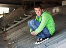 Photo of teenage boy alone