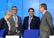 Bernadette Ségol, General Secretary of the ETUC, Hans-Joachim Reck, President of CEEP, Markus Beyrer, Director General of BusinessEurope, and László Andor (from left to right) at the Tripartite Social Summit.