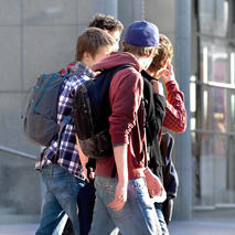 Image of group of teenage boys walking outside