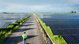 Image of engineer walking through solar panel plant - Just Transition